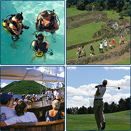 upper left snorkeling, upper right visiting a historical site, lower left sailing, lower right, golfing